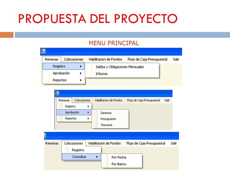 PROPUESTA DEL PROYECTO MENU PRINCIPAL