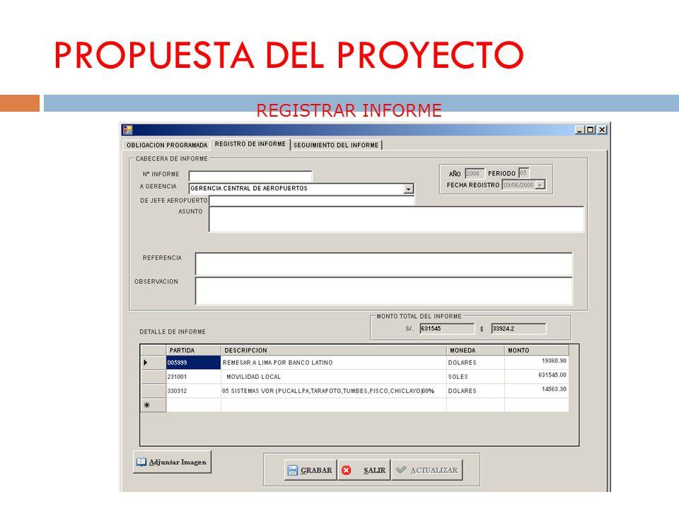 PROPUESTA DEL PROYECTO REGISTRAR INFORME