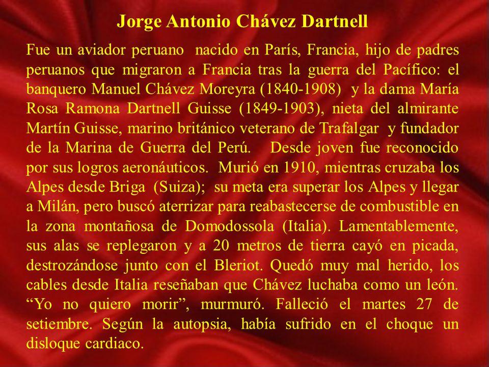 Nacimiento 13 de enero de 1887, París, Francia. Fallecimiento 27 de septiembre de 1910 Domodossola, Italia. NacionalidadPeruana OcupaciónAviador Conoc