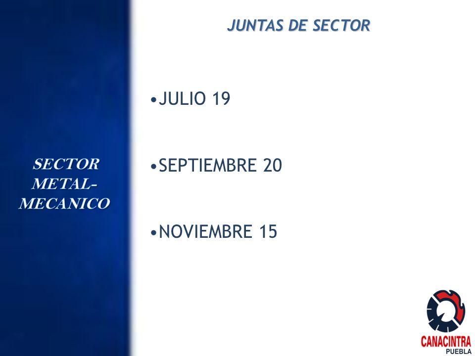 JUNTAS DE SECTOR JULIO 19 SEPTIEMBRE 20 NOVIEMBRE 15