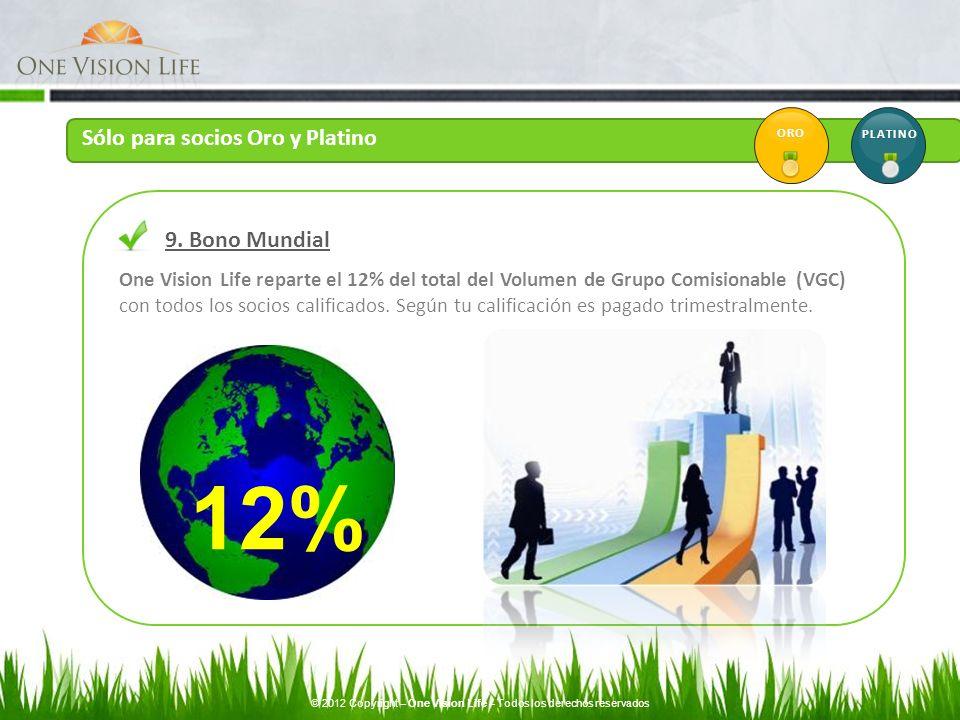 One Vision Life reparte el 12% del total del Volumen de Grupo Comisionable (VGC) con todos los socios calificados. Según tu calificación es pagado tri