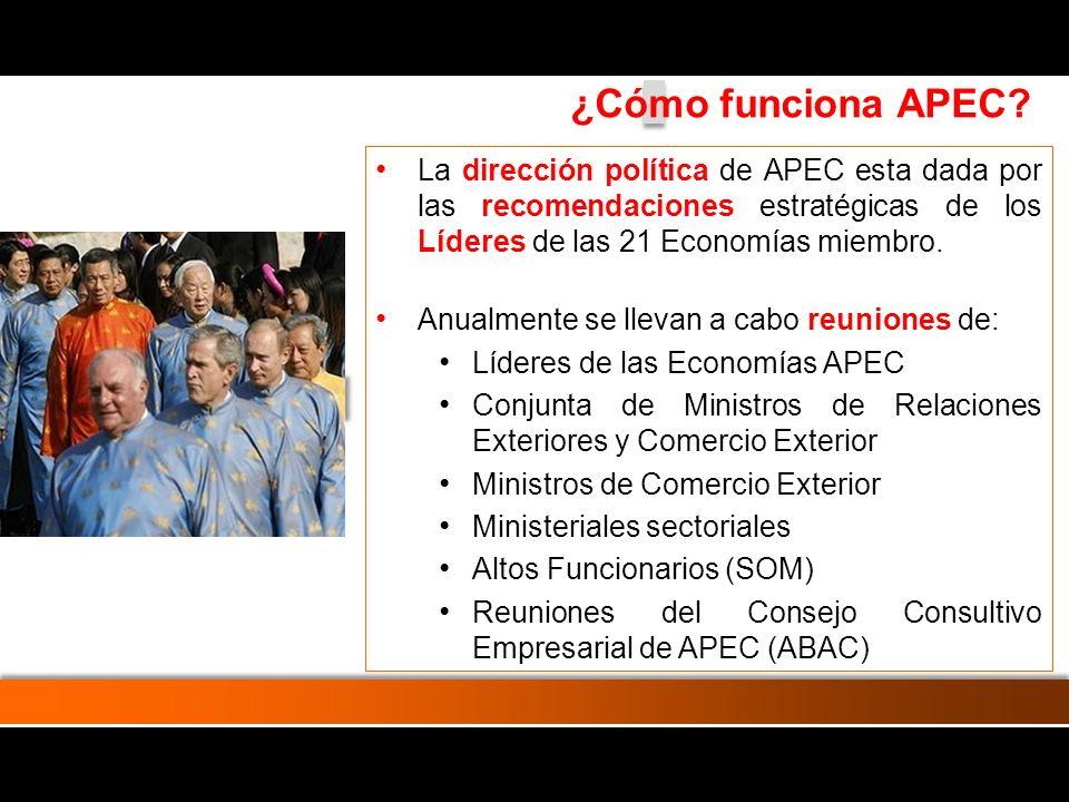 Las actividades a nivel de trabajos y proyectos son guiados por los Altos Funcionarios de APEC Existen 4 comités de alto nivel: Comité de Comercio e Inversión (CTI) Comité de Altos Funcionarios para la Cooperación Económica y Técnica (SCE) Comité Económico (CE) Comité de Presupuesto y Administración (BMC) Apoyan las labores de estos comités: subcomités, grupos de expertos, grupos de trabajo y equipos de tareas ¿Cómo funciona APEC?