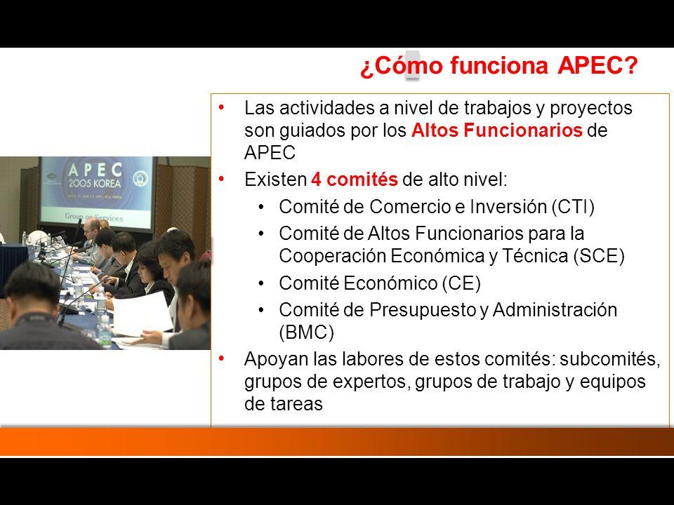 Cada año una de las 21 Economías es anfitriona del Foro y asume la Presidencia APEC (Perú: 2008) Las actividades APEC se financian con el aporte de las Economías miembros.
