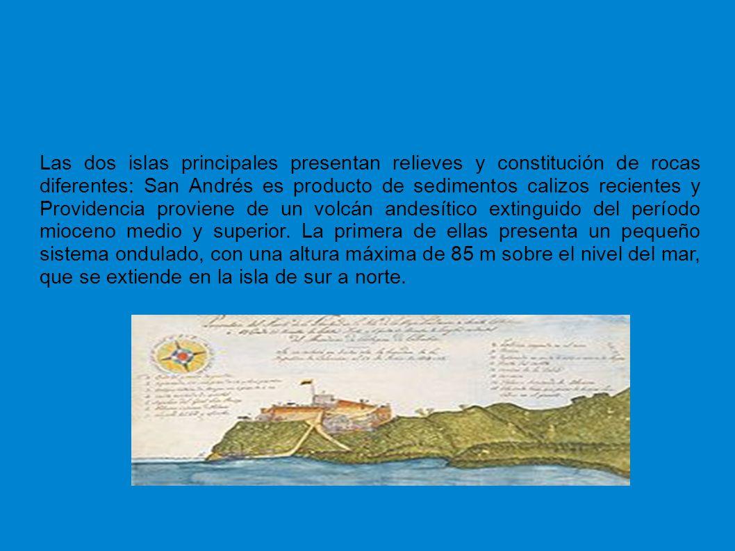 Las dos islas principales presentan relieves y constitución de rocas diferentes: San Andrés es producto de sedimentos calizos recientes y Providencia