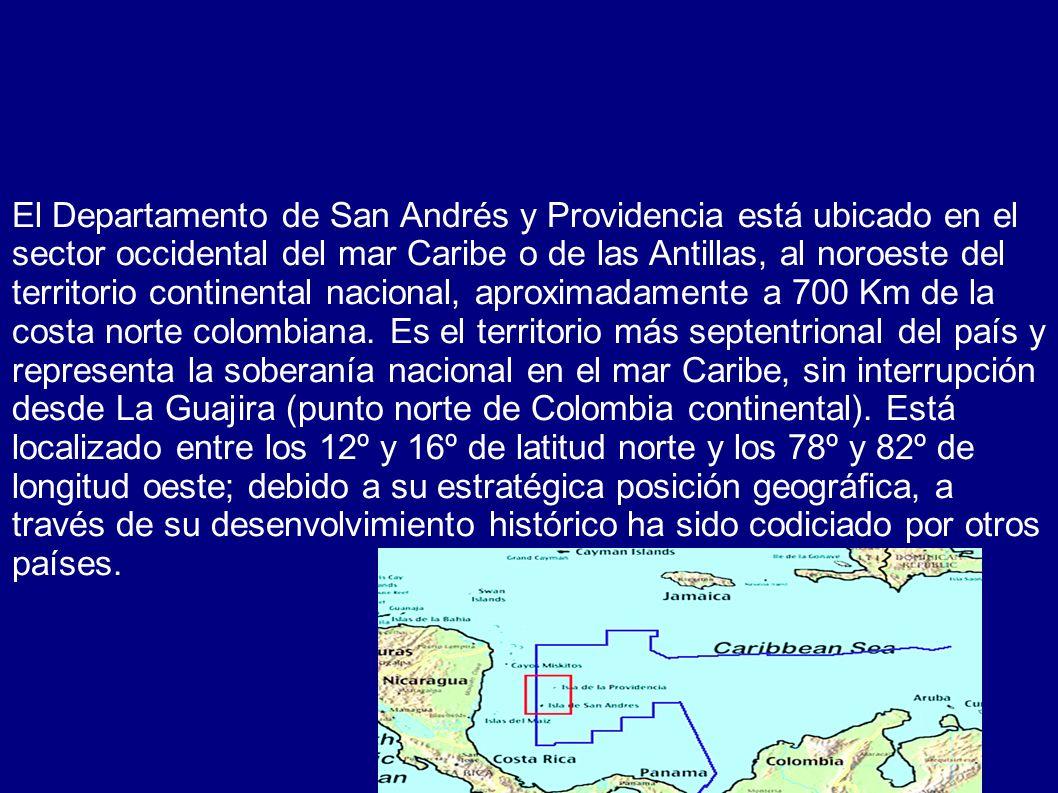 El Departamento de San Andrés y Providencia está ubicado en el sector occidental del mar Caribe o de las Antillas, al noroeste del territorio continen