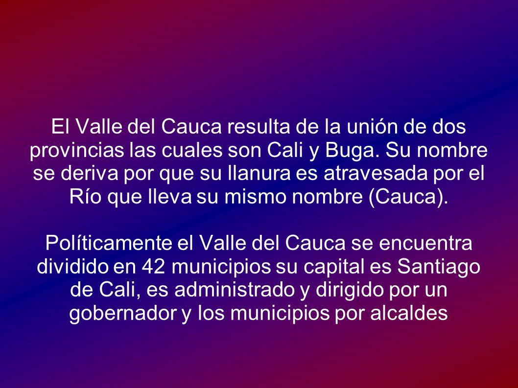 El Valle del Cauca resulta de la unión de dos provincias las cuales son Cali y Buga. Su nombre se deriva por que su llanura es atravesada por el Río q