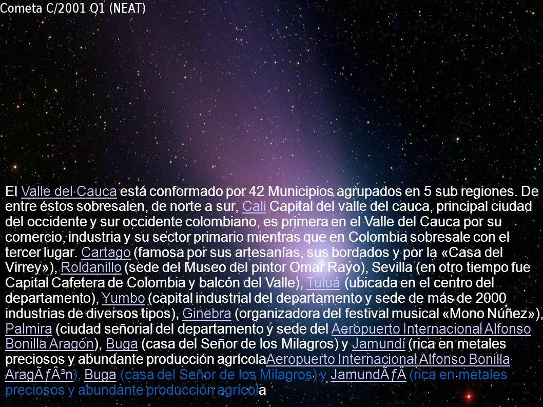 , El Valle del Cauca está conformado por 42 Municipios agrupados en 5 sub regiones. De entre éstos sobresalen, de norte a sur, Cali Capital del valle