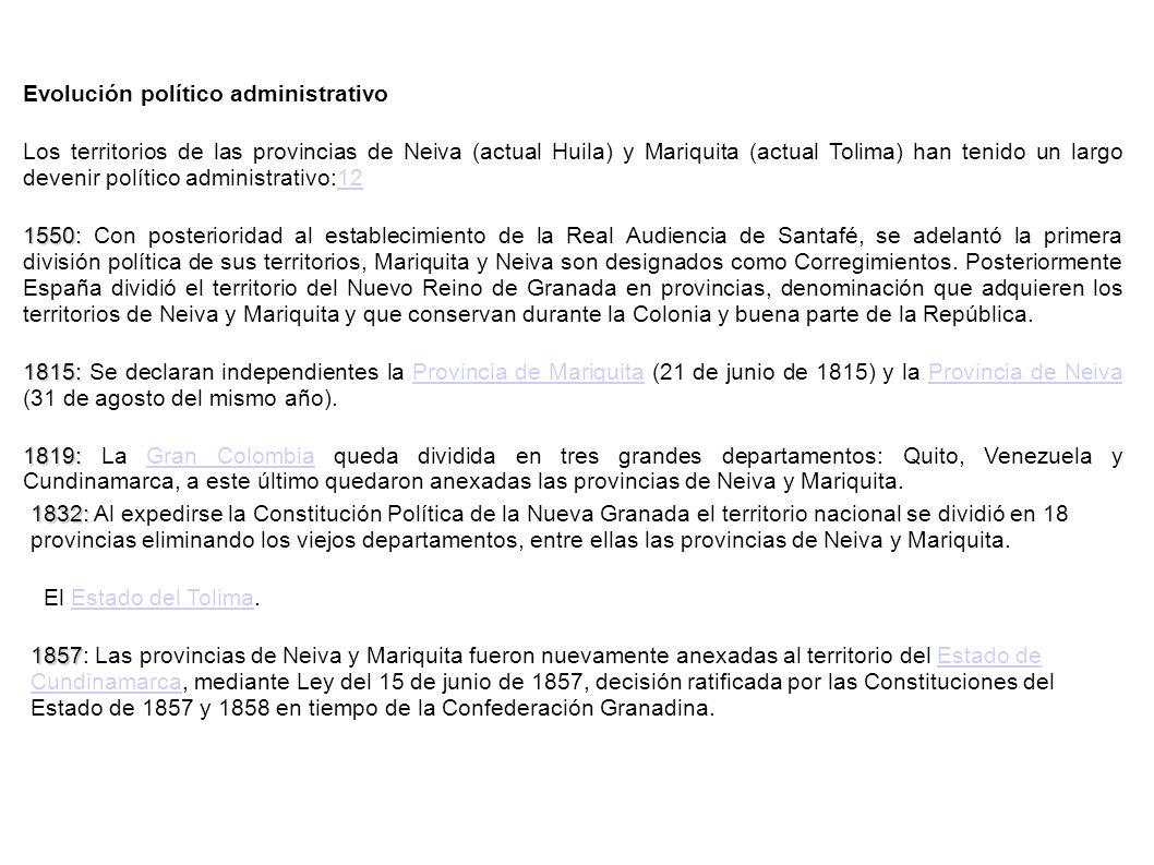 Evolución político administrativo Los territorios de las provincias de Neiva (actual Huila) y Mariquita (actual Tolima) han tenido un largo devenir po