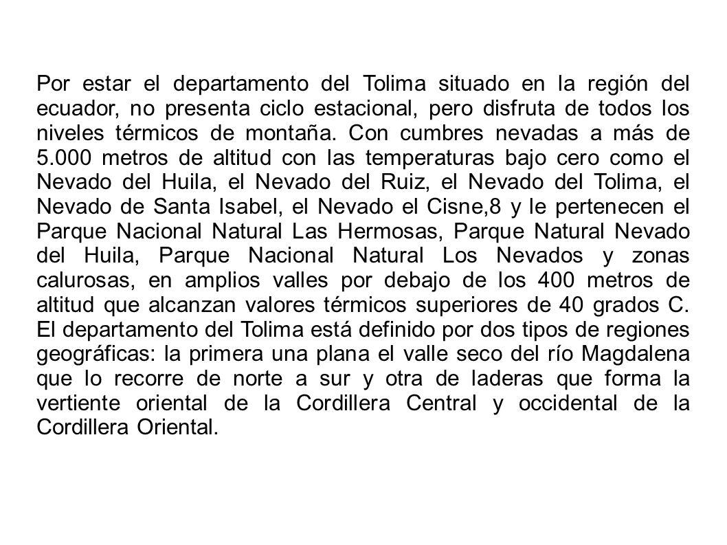Por estar el departamento del Tolima situado en la región del ecuador, no presenta ciclo estacional, pero disfruta de todos los niveles térmicos de mo