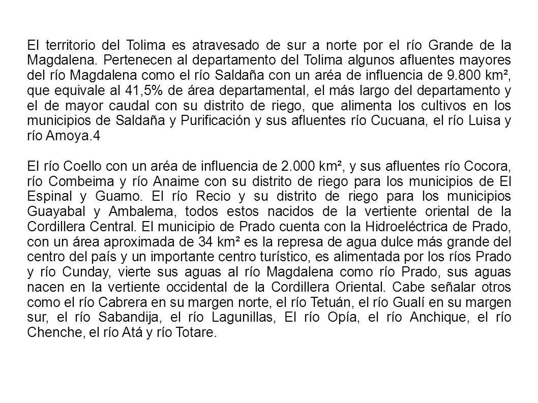 El territorio del Tolima es atravesado de sur a norte por el río Grande de la Magdalena. Pertenecen al departamento del Tolima algunos afluentes mayor