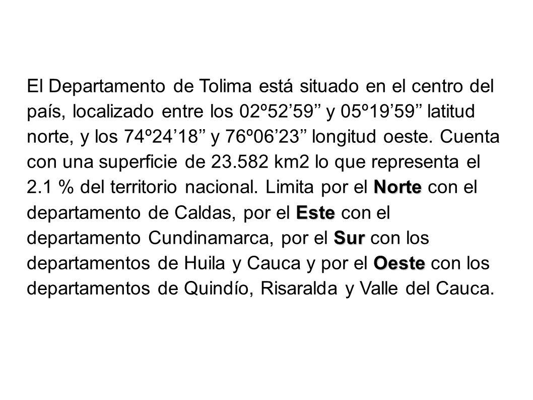 Norte Este Sur Oeste El Departamento de Tolima está situado en el centro del país, localizado entre los 02º5259 y 05º1959 latitud norte, y los 74º2418