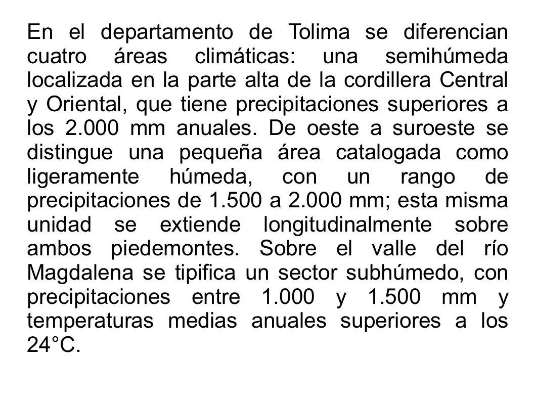 En el departamento de Tolima se diferencian cuatro áreas climáticas: una semihúmeda localizada en la parte alta de la cordillera Central y Oriental, q