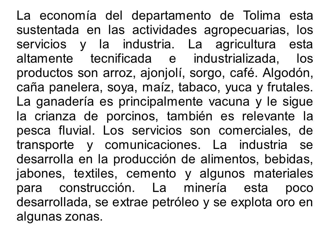 La economía del departamento de Tolima esta sustentada en las actividades agropecuarias, los servicios y la industria. La agricultura esta altamente t