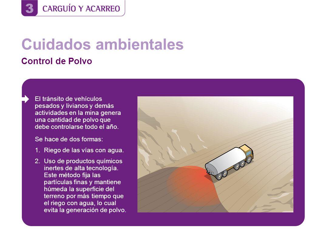 Cuidados ambientales Control de Polvo El tránsito de vehículos pesados y livianos y demás actividades en la mina genera una cantidad de polvo que debe