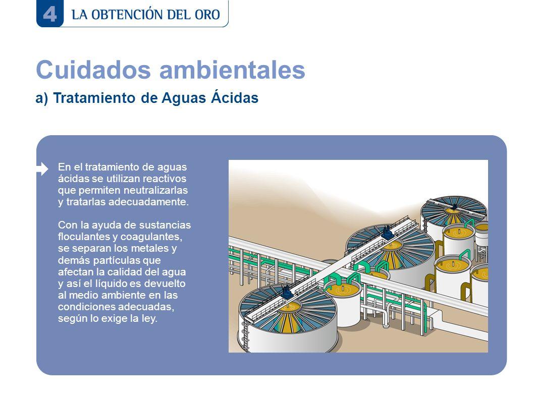 Cuidados ambientales a) Tratamiento de Aguas Ácidas En el tratamiento de aguas ácidas se utilizan reactivos que permiten neutralizarlas y tratarlas ad