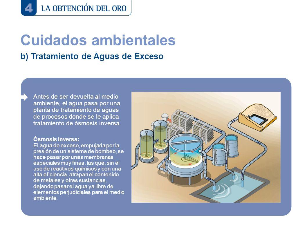 Cuidados ambientales b) Tratamiento de Aguas de Exceso Antes de ser devuelta al medio ambiente, el agua pasa por una planta de tratamiento de aguas de