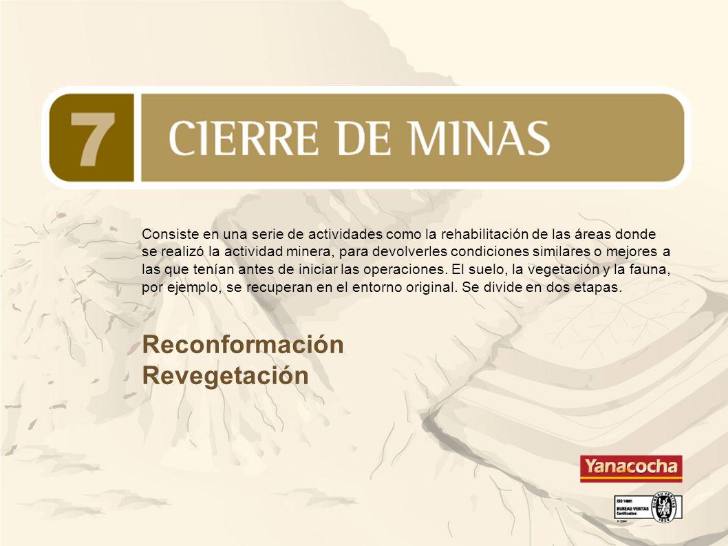 Reconformación Revegetación Consiste en una serie de actividades como la rehabilitación de las áreas donde se realizó la actividad minera, para devolv
