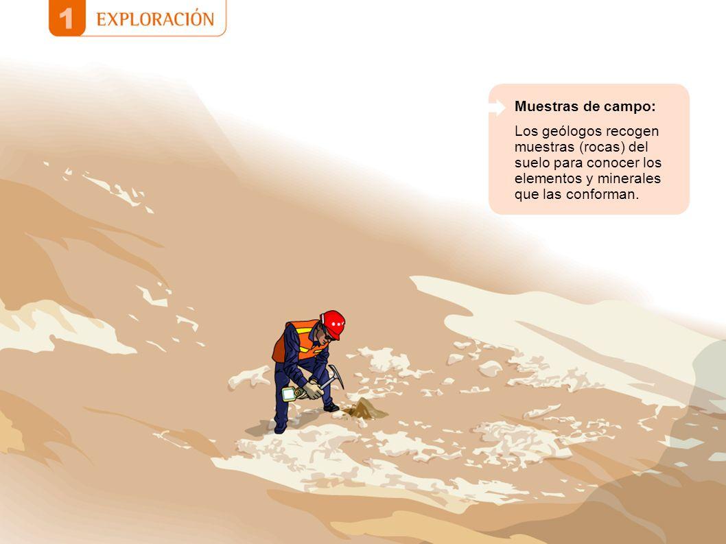 Muestras de campo: Los geólogos recogen muestras (rocas) del suelo para conocer los elementos y minerales que las conforman.