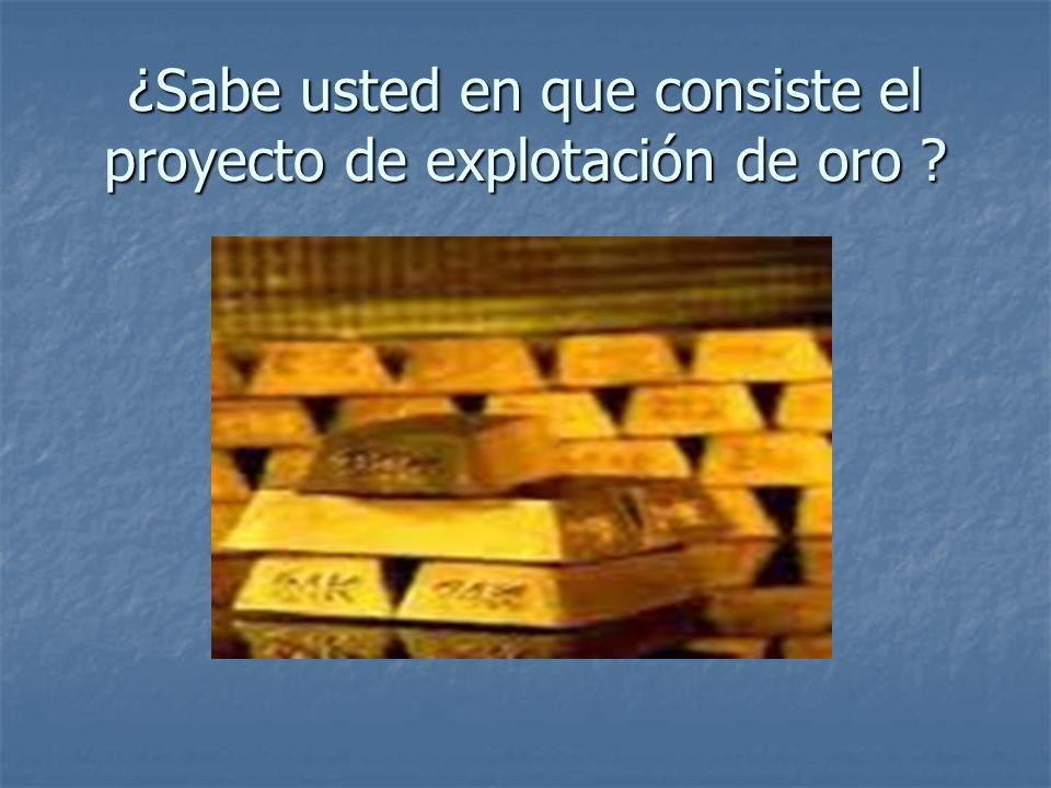 ¿Sabe usted en que consiste el proyecto de explotación de oro ?