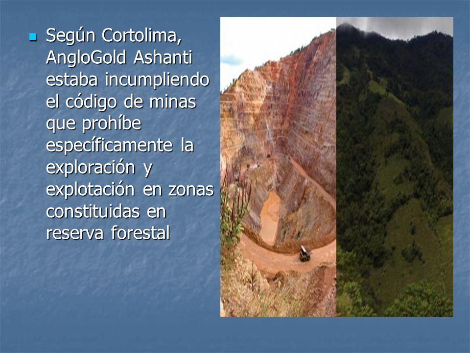 Según Cortolima, AngloGold Ashanti estaba incumpliendo el código de minas que prohíbe específicamente la exploración y explotación en zonas constituid