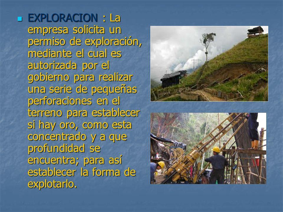 EXPLORACION : La empresa solicita un permiso de exploración, mediante el cual es autorizada por el gobierno para realizar una serie de pequeñas perfor