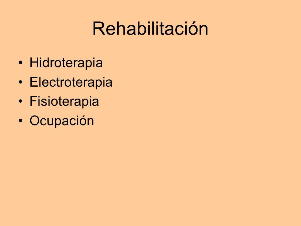 Rehabilitación Hidroterapia Electroterapia Fisioterapia Ocupación
