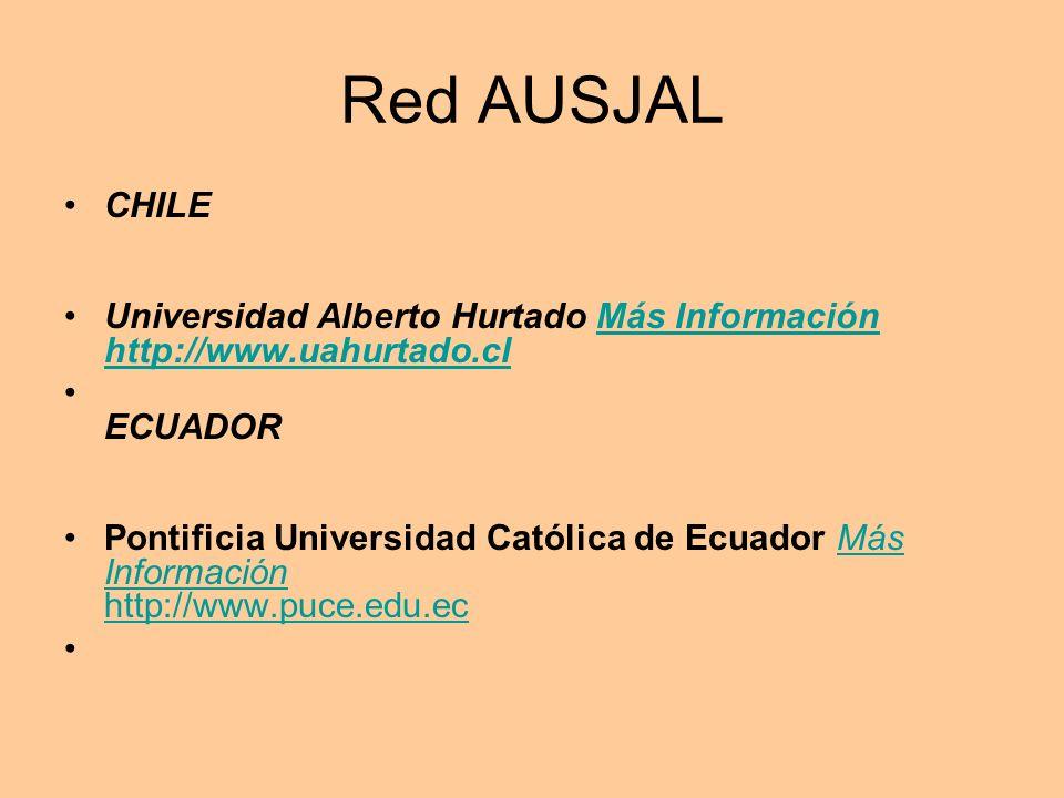 Red AUSJAL CHILE Universidad Alberto Hurtado Más Información http://www.uahurtado.clMás Información http://www.uahurtado.cl ECUADOR Pontificia Universidad Católica de Ecuador Más Información http://www.puce.edu.ecMás Información http://www.puce.edu.ec