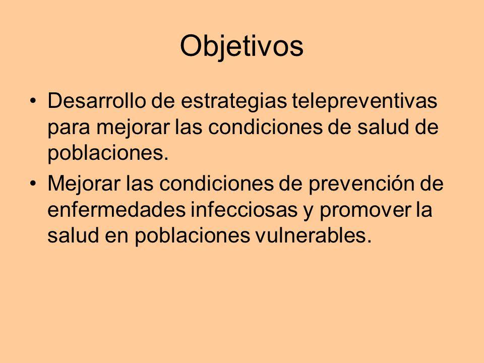 Objetivos Desarrollo de estrategias telepreventivas para mejorar las condiciones de salud de poblaciones. Mejorar las condiciones de prevención de enf