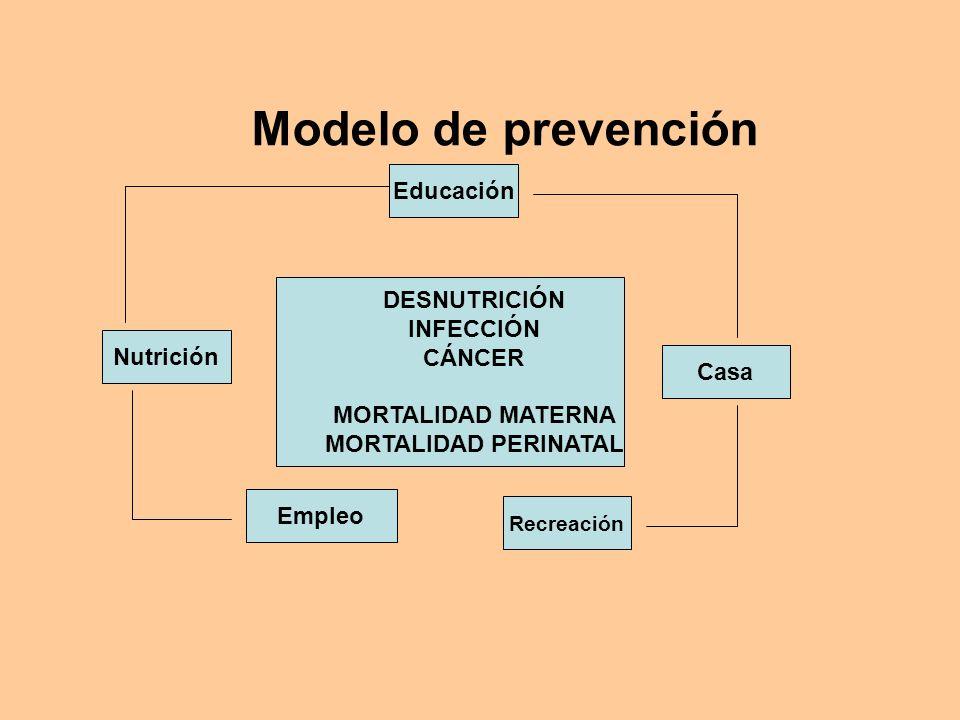 Modelo de prevención Nutrición Educación Empleo Recreación Casa DESNUTRICIÓN INFECCIÓN CÁNCER MORTALIDAD MATERNA MORTALIDAD PERINATAL