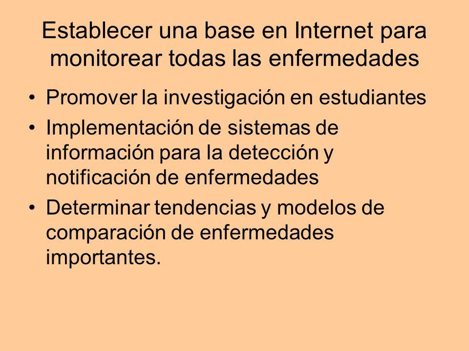 Establecer una base en Internet para monitorear todas las enfermedades Promover la investigación en estudiantes Implementación de sistemas de informac