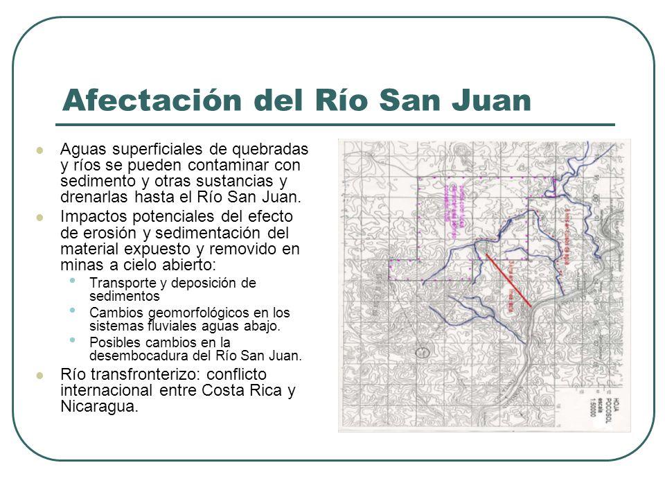 Afectación del Río San Juan Aguas superficiales de quebradas y ríos se pueden contaminar con sedimento y otras sustancias y drenarlas hasta el Río San