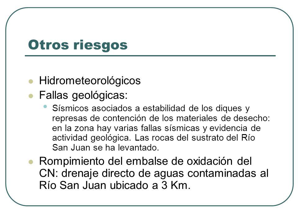 Otros riesgos Hidrometeorológicos Fallas geológicas: Sísmicos asociados a estabilidad de los diques y represas de contención de los materiales de dese