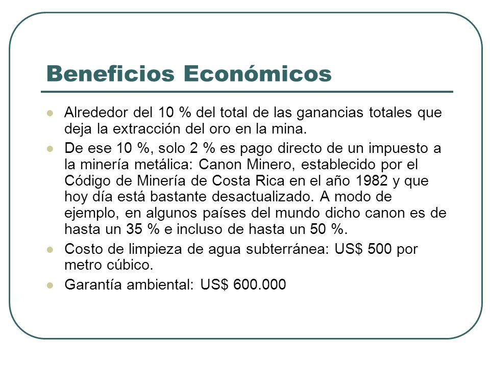 Beneficios Económicos Alrededor del 10 % del total de las ganancias totales que deja la extracción del oro en la mina. De ese 10 %, solo 2 % es pago d