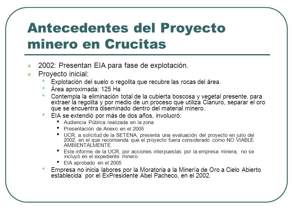 Antecedentes del Proyecto minero en Crucitas 2002: Presentan EIA para fase de explotación. Proyecto inicial: Explotación del suelo o regolita que recu