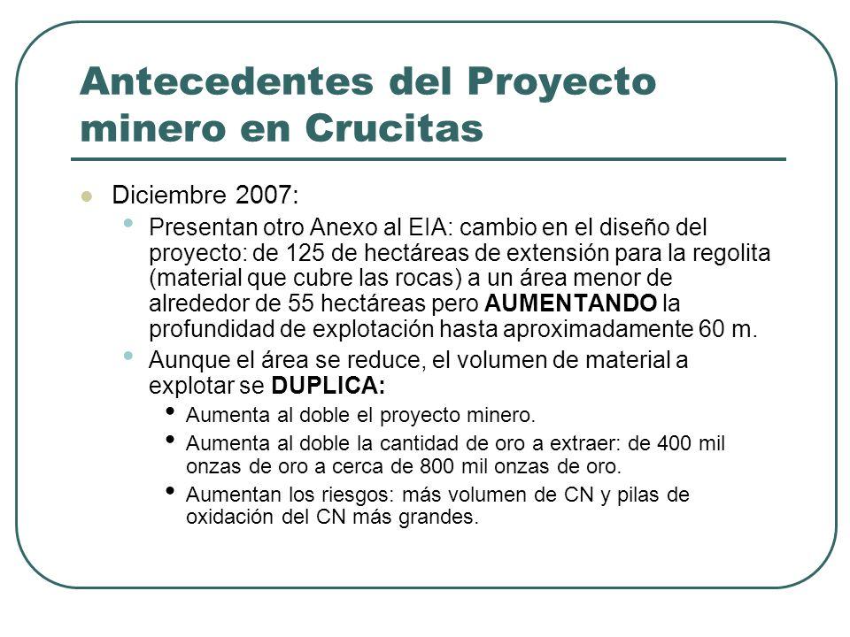 Antecedentes del Proyecto minero en Crucitas Diciembre 2007: Presentan otro Anexo al EIA: cambio en el diseño del proyecto: de 125 de hectáreas de ext