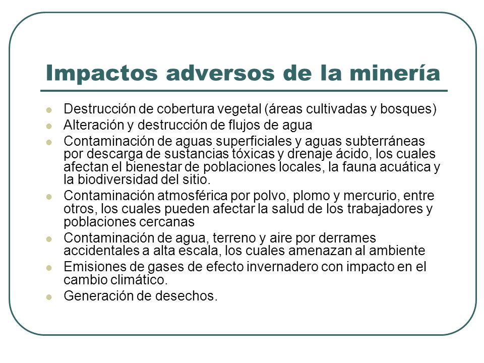 Impactos adversos de la minería Destrucción de cobertura vegetal (áreas cultivadas y bosques) Alteración y destrucción de flujos de agua Contaminación