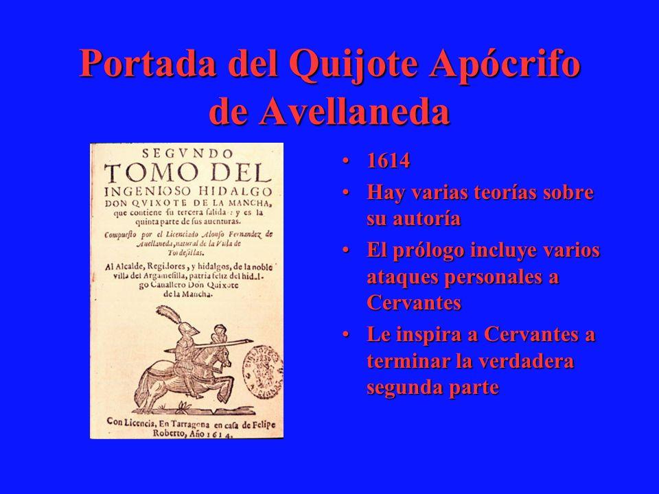 Portada del Quijote Apócrifo de Avellaneda 16141614 Hay varias teorías sobre su autoríaHay varias teorías sobre su autoría El prólogo incluye varios a
