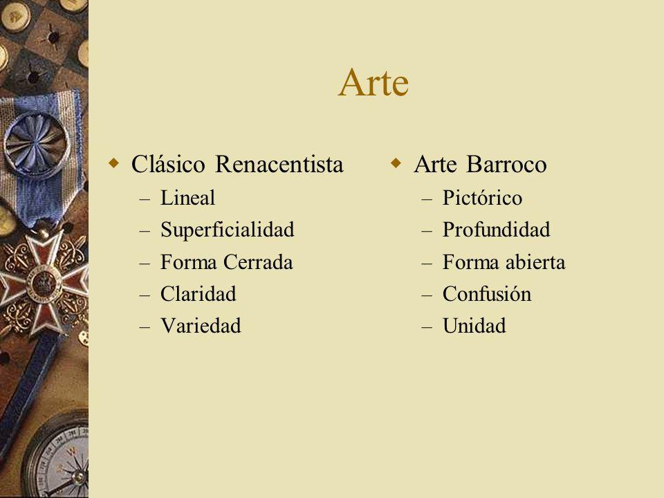 Arte Clásico Renacentista – Lineal – Superficialidad – Forma Cerrada – Claridad – Variedad Arte Barroco – Pictórico – Profundidad – Forma abierta – Co