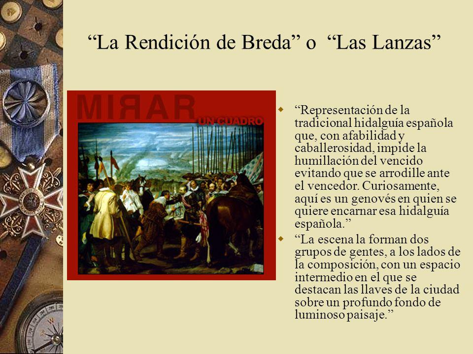 Representación de la tradicional hidalguía española que, con afabilidad y caballerosidad, impide la humillación del vencido evitando que se arrodille