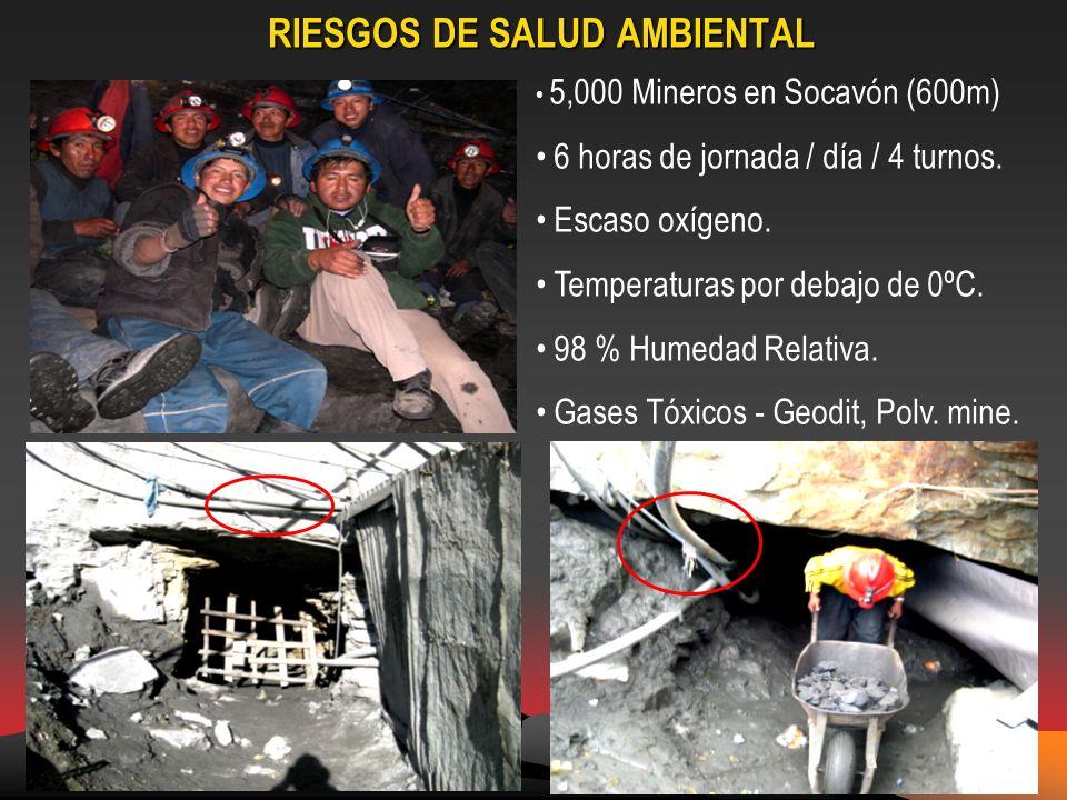 RIESGOS DE SALUD AMBIENTAL 5,000 Mineros en Socavón (600m) 6 horas de jornada / día / 4 turnos.