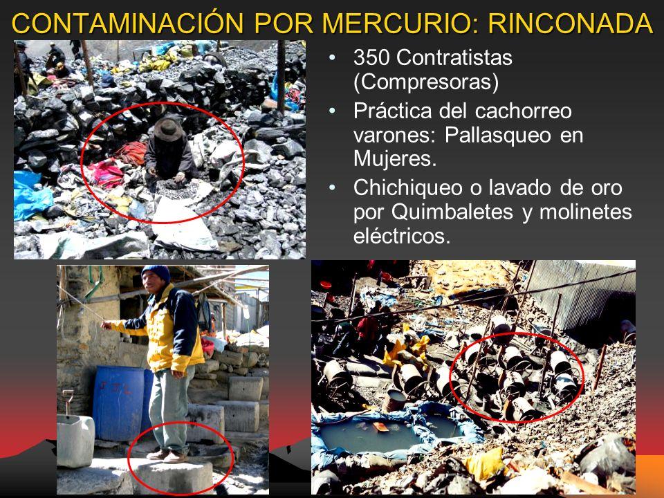 CONTAMINACIÓN POR MERCURIO: RINCONADA 350 Contratistas (Compresoras) Práctica del cachorreo varones: Pallasqueo en Mujeres.