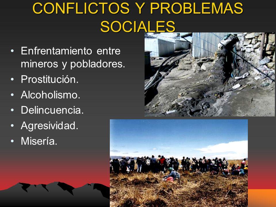CONFLICTOS Y PROBLEMAS SOCIALES Enfrentamiento entre mineros y pobladores.