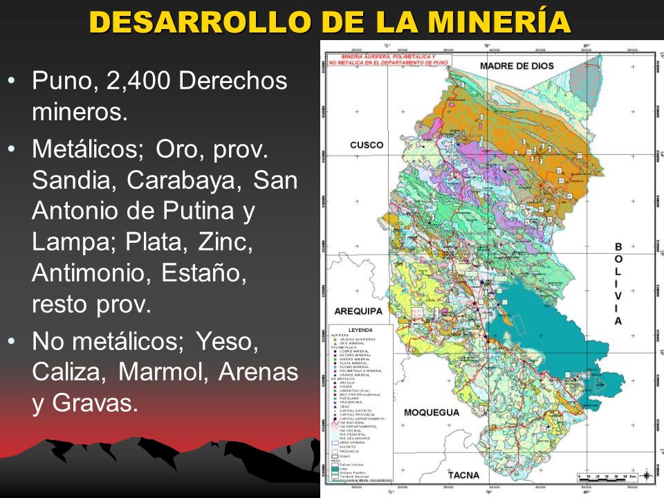 DESARROLLO DE LA MINERÍA Puno, 2,400 Derechos mineros.