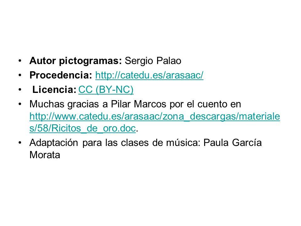 Autor pictogramas: Sergio Palao Procedencia: http://catedu.es/arasaac/ http://catedu.es/arasaac/ Licencia: CC (BY-NC)CC (BY-NC) Muchas gracias a Pilar Marcos por el cuento en http://www.catedu.es/arasaac/zona_descargas/materiale s/58/Ricitos_de_oro.doc.