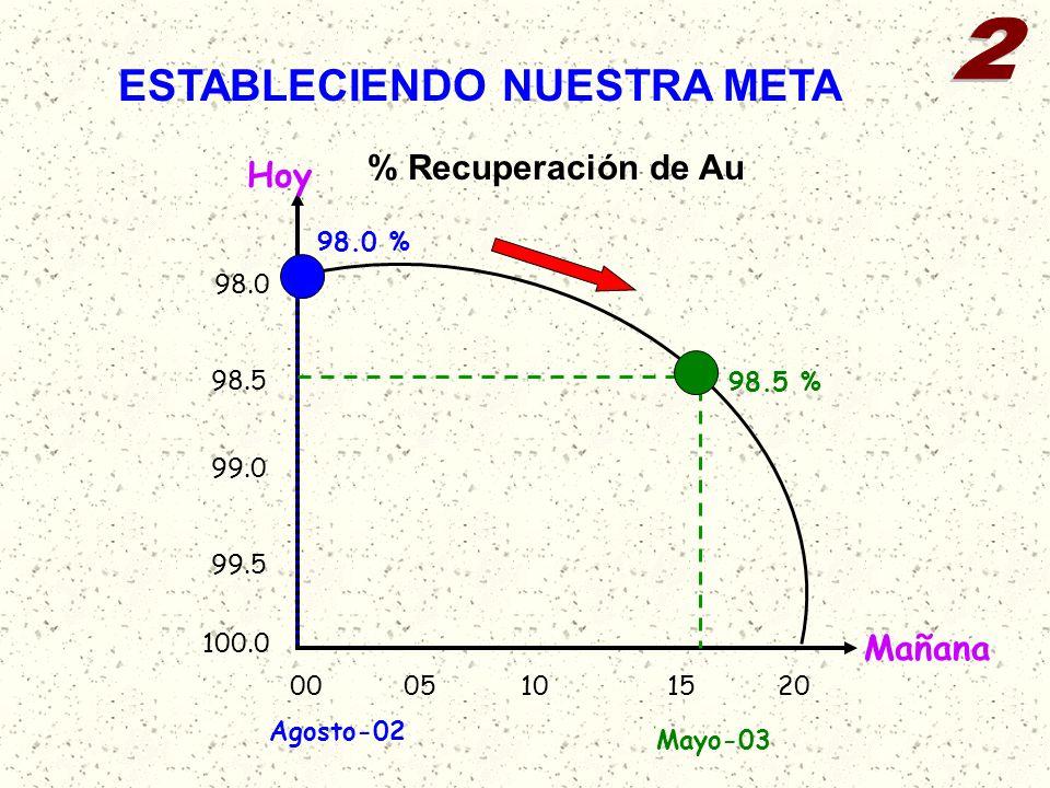 ESTABLECIENDO NUESTRA META 98.0 % 98.5 % Agosto-02 Mayo-03 % Recuperación de Au Hoy Mañana 0010152005 100.0 99.0 99.5 98.5 98.0
