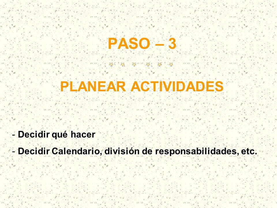 PASO – 3 PLANEAR ACTIVIDADES - Decidir qué hacer - Decidir Calendario, división de responsabilidades, etc.