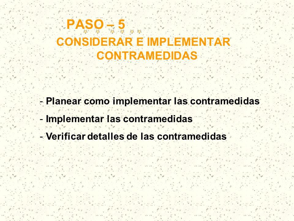 PASO – 5 CONSIDERAR E IMPLEMENTAR CONTRAMEDIDAS - Planear como implementar las contramedidas - Implementar las contramedidas - Verificar detalles de l