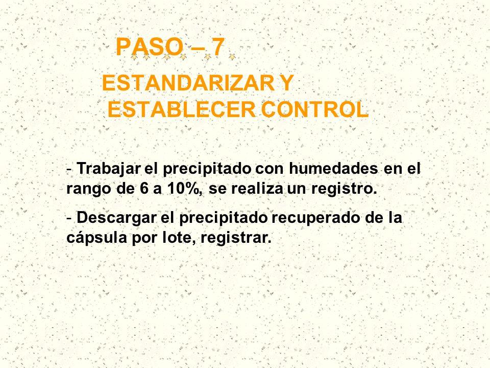PASO – 7 ESTANDARIZAR Y ESTABLECER CONTROL - Trabajar el precipitado con humedades en el rango de 6 a 10%, se realiza un registro. - Descargar el prec