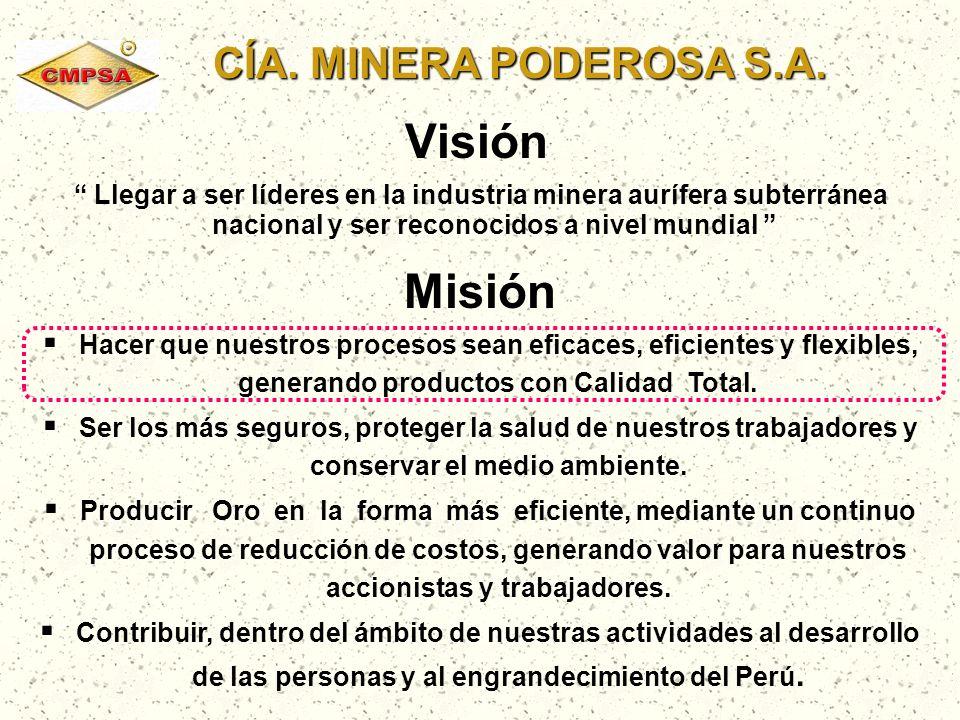 CÍA. MINERA PODEROSA S.A. CÍA. MINERA PODEROSA S.A. Visión Llegar a ser líderes en la industria minera aurífera subterránea nacional y ser reconocidos