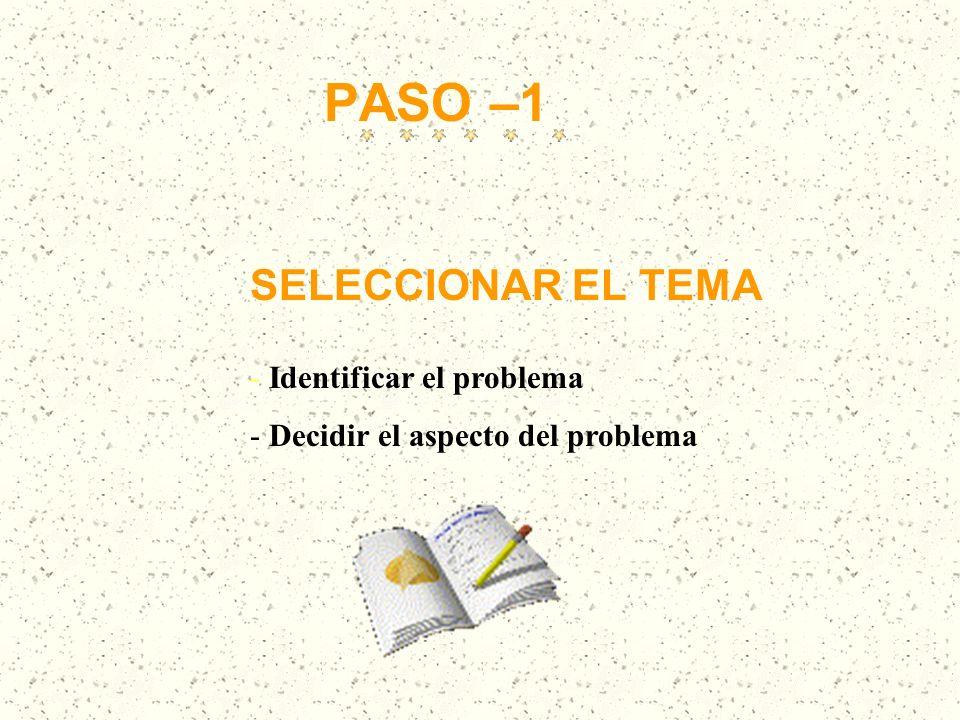 PASO –1 SELECCIONAR EL TEMA - Identificar el problema - Decidir el aspecto del problema